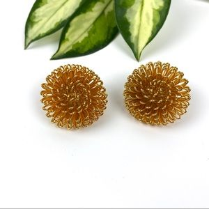 Vintage Gold Loopy Earrings Clip On